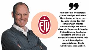 Portrait Frank Fechner, das Logo vom ETV und ein Zitat darüber, dass sie durch hauptamtliche Kräfte leichter Ehrenamtliche finden